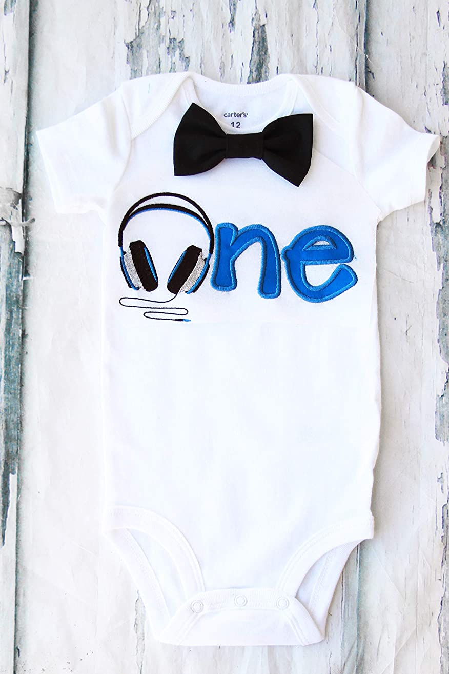Boy first birthday Outfit Headphones birthday baby boy cake smashHeadphone one year outfit birthday outfit birthday music family shirts