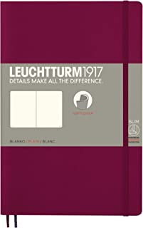 Leuchtturm1917 Softcover B6+ Plain Notebook- 121 Numbered Pages, Port Red