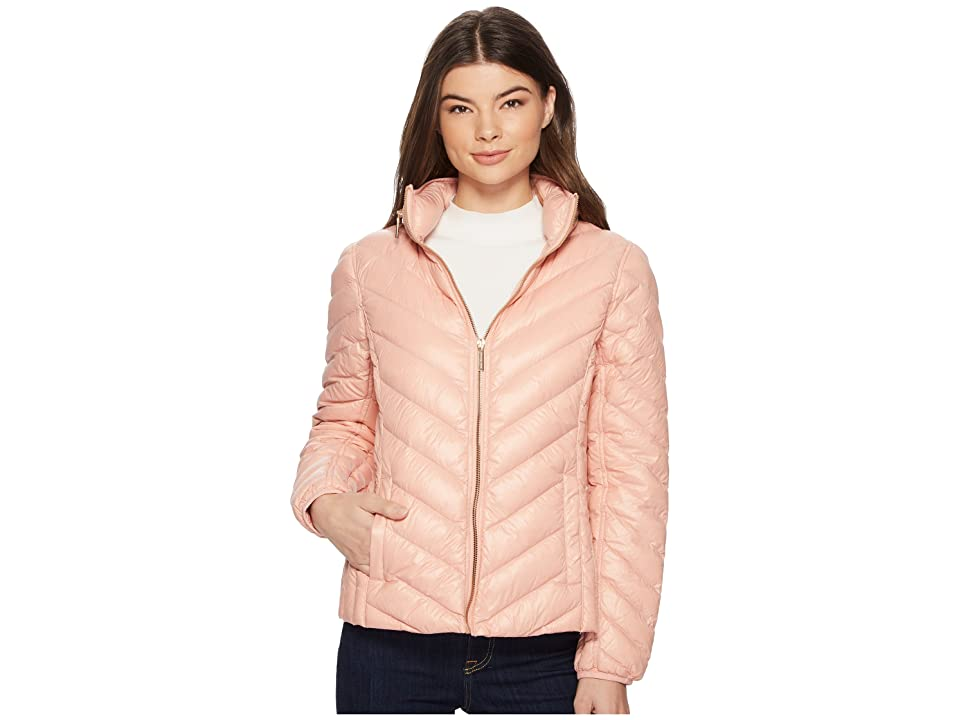 MICHAEL Michael Kors Zip Front Stand Collar Packable M823044F (Blush) Women