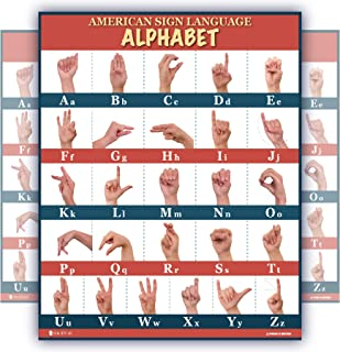 Sign Language abc poster (18x24) large LAMINATED with UPDATED FIXED images Young N Refined