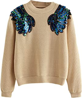 SheIn Women's Sequin Rib Knit Sweater Drop Shoulder Long Sleeve Round Neck