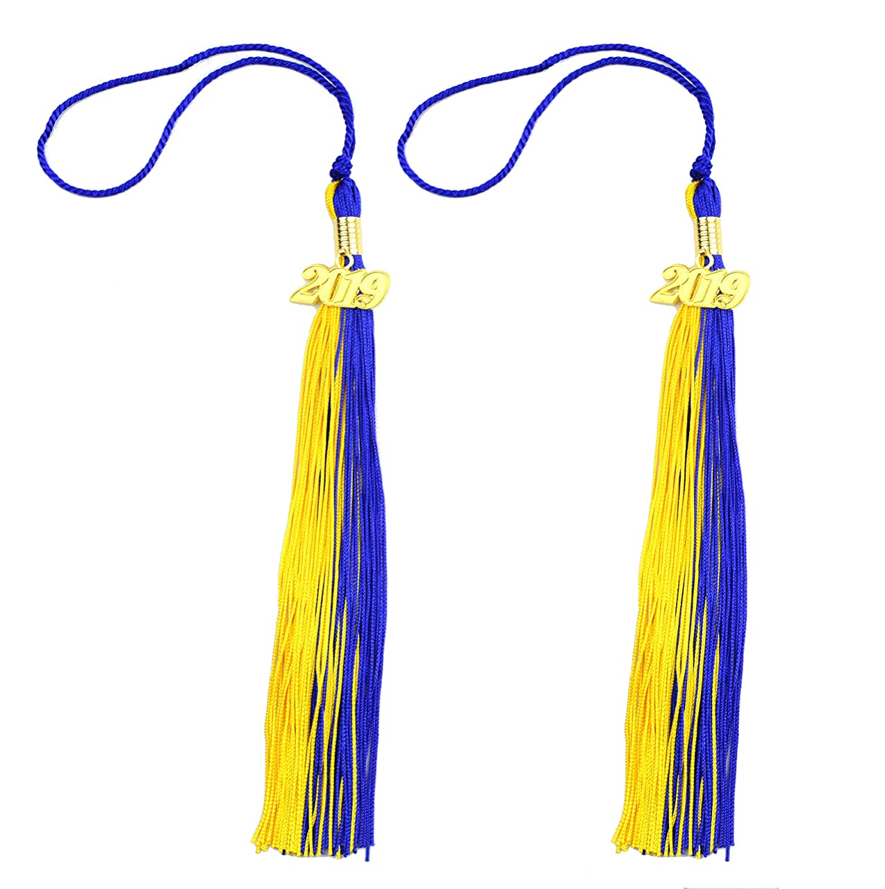 Makhry 2pcs 15.7 inches/41cm Handmade Silk Graduation Honor Tassel with 2019 Year Charm for Graduation Cap,Graduation Gift,Souvenir (2, Navy Blue&Gold)
