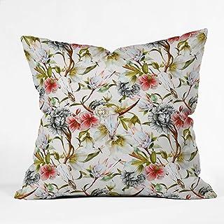 "Deny Designs Marta Barragan Camarasa Boho Skulls Blooming In The Garden Indoor Throw Pillow, 16"" X 16"""
