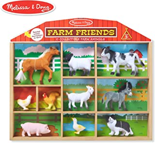 Melissa & Doug Farm Friends Play Set (10 Collectible Farm Animals with Wooden Barn-Shaped Crate)