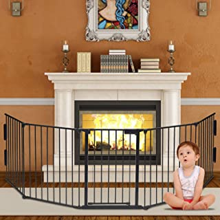 Safety Gate Fireplace Fence Hearth Guard for Baby Pet Dog Cat BBQ Metal Fire Gate Protection Fireguard 5 Sides(Black)