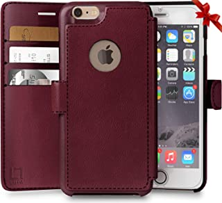 LUPA iPhone 6S Plus Wallet case, iPhone 6 Plus Wallet Case, Durable and Slim, Lightweight with Classic Design & Ultra-Strong Magnetic Closure, Faux Leather, Burgundy, for Apple iPhone 6s Plus/6 Plus