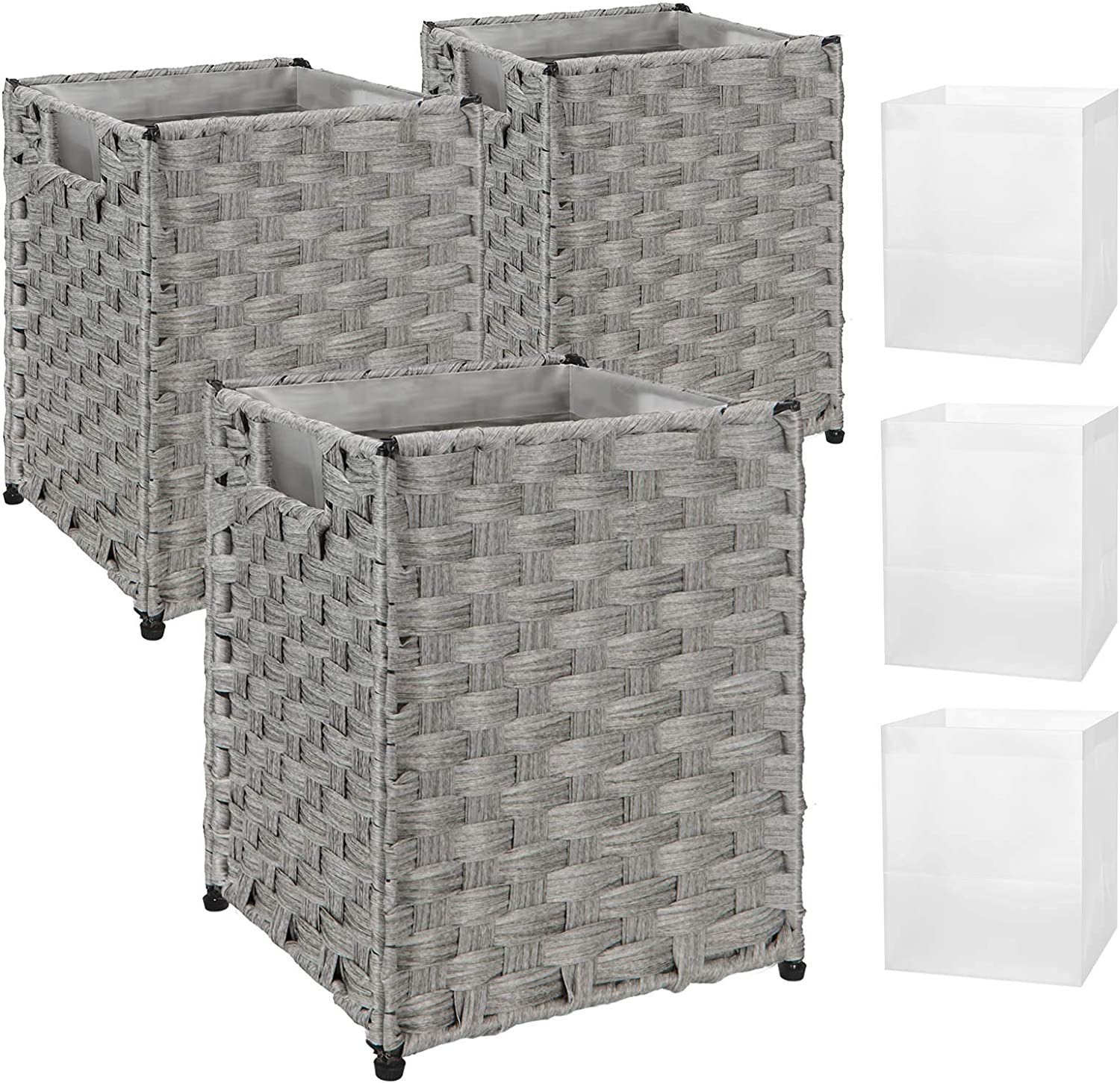 GREENSTELL Waste Basket with 6 Selling and selling Easy-to-use Hand Liners Replaceable Woven Ba