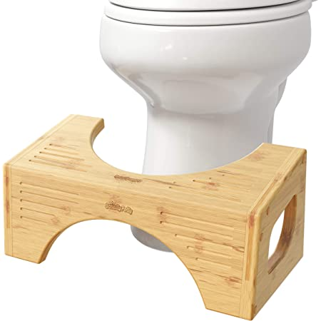 "Squatty Potty The Original Toilet Stool - Bamboo Flip, 7"" & 9"" Height, Brown"