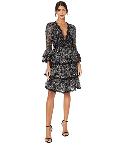 Marchesa Bell Sleeve and Tiered Skirt Cocktail (Black) Women