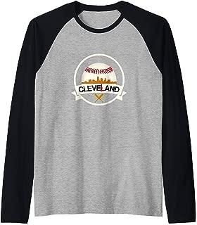 Cleveland Hometown Indian Tribe Tshirt Cool Baseball Logo Raglan Baseball Tee
