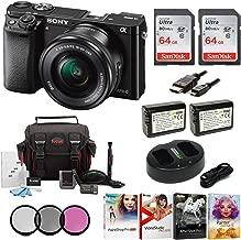 Sony Alpha a6000 Mirrorless Camera w/ 16-50mm Lens & Two 64GB SD Card Bundle