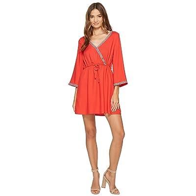 Jack by BB Dakota Klea Rayon Crepe + Multicolored Ribbon Trim Dress (Fire Red) Women