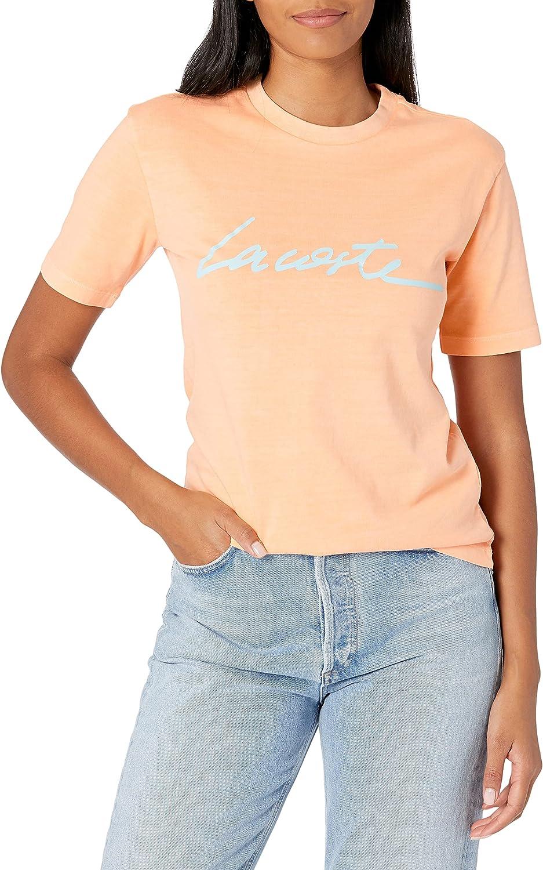 Lacoste Women's Short Sleeve Script Crewneck T-Shirt