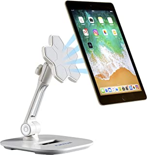 Magnetic Phone & Tablet Holder Stand with 360 Degree Adjustable Swivel Head :: Non Damaging Mount for Kitchen Desktop or Tabletop Surface (White)