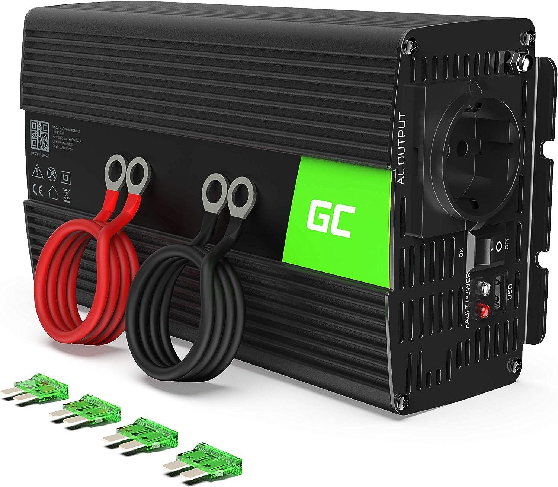 Green Cell® 1000W/2000W 24V a 220V/230V Onda sinusoidal modificada Inversor de Corriente DC AC Power Inverter Transformador de Voltaje para Coche Camion con Puerto USB y Pinzas de conexión a batería