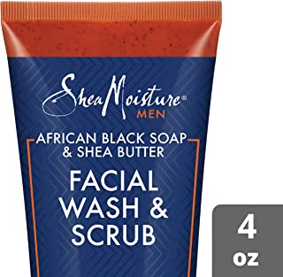 SheaMoisture Face Wash & Face Scrub for Men African Black Soap Face Cleanser with Shea Butter 4 oz