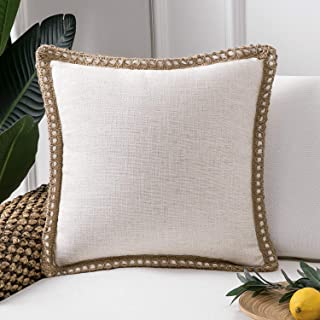 Phantoscope Farmhouse Decorative Throw Pillow Covers Burlap Linen Trimmed Tailored Edges Outdoor Pillows Off White 20 x 20 inches, 50 x 50 cm