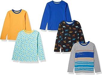 Amazon Essentials Camisetas de Manga Larga Unisex niños, Pack de 5