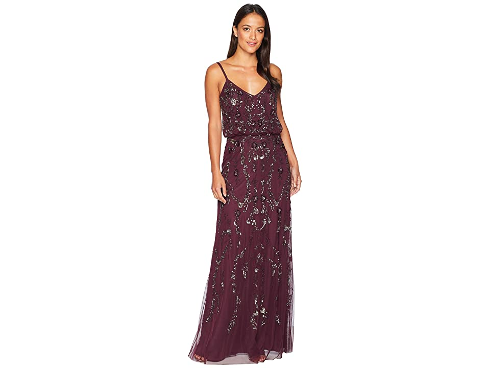 Adrianna Papell Floral Beaded Blouson Gown (Night Plum) Women