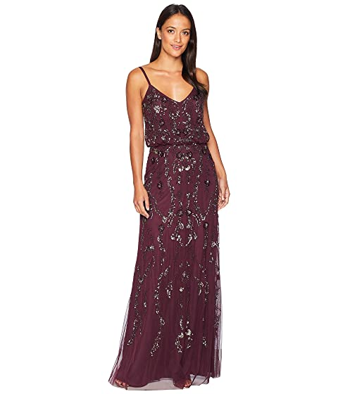Adrianna Papell Floral Beaded Blouson Gown At Zapposcom