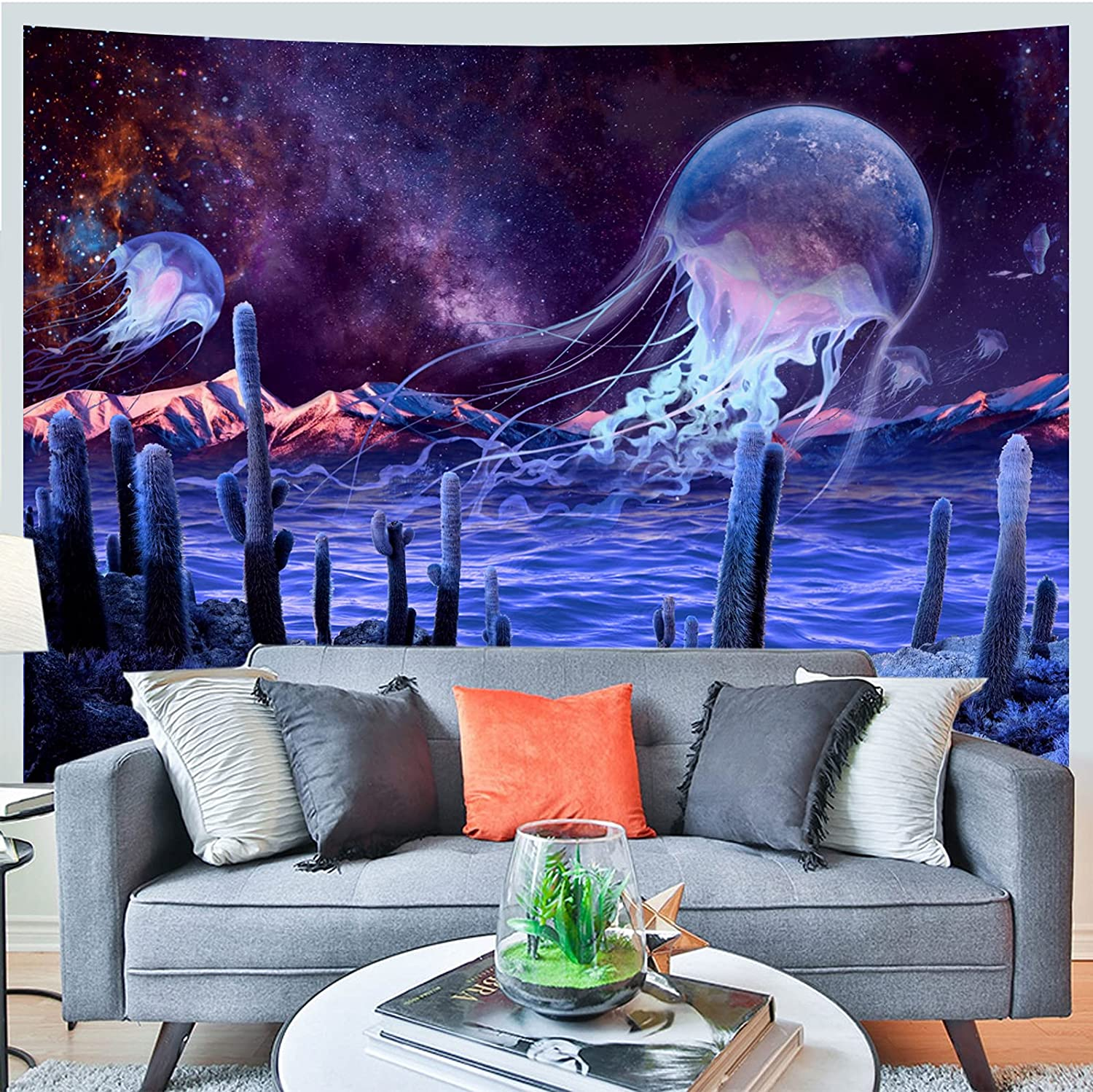 Trippy Tapestry Galaxy Starry SkyTapestry Psychedelic Jellyfish Wall Tapestry Hippie Mystic Outer Space Cactus Tapestry Wall Hanging for Bedroom Dorm Decor (M: 59.1