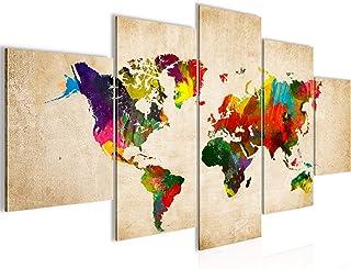Carte Du Monde Tableau Murale Impression sur Toile Intissee 5 Parties Continents Carte Coloré Chambre Salle 105153a