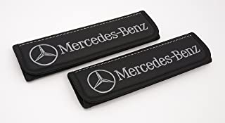 Car Interior Seat Belt Covers for Adults Black Shoulder Pads Seatbelt Cover pad with Embroidered Grey Emblem Accessories Compatible for Mercedes-Benz Great idea for a Gift to The Driver! 2 pcs