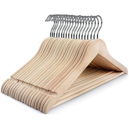 tienda de ropa para hombres y mujeres para ni/ños percheros sin costuras Perchas de ropa antideslizantes de madera maciza natural 10 piezas Hombre 42cm