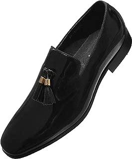 Asher Green Mens Black Patent Leather Gold Tip Tassel Slip On Tuxedo Loafer Dress Shoe
