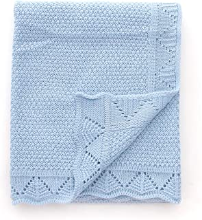 Ziyunlong Baby Blanket Knit Crib Toddler Blanket for Boys and Girls,Sky Blue,40 inchesx30 inches