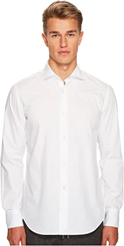 Poplin Spread Collar Button Down