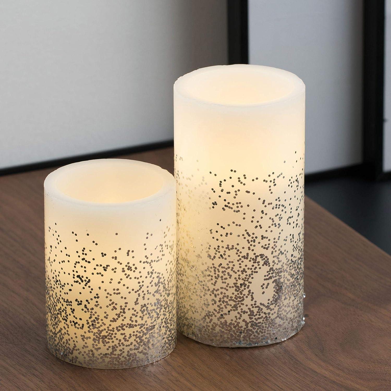 Pauleen Shine Like a Candle Wachskerze 3er Set Echtwachs LED Kerzen mit warmweiß flackernder Flamme Apricot Wachs für Geburtstage, Hochzeit, Party, Weihnachten 48011 Glitter