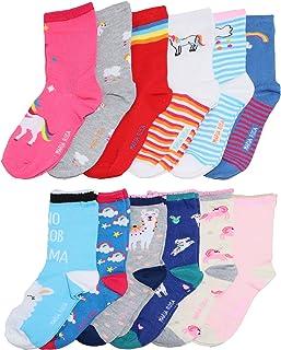Angelina Girls Kids Assorted Designs Crew Socks (12-Pack)