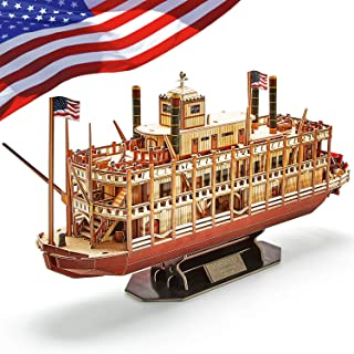 CubicFun 3D Vessel Puzzle Ship Models Toys Foam Puzzles Building Kits Gift for Adults and Kids, US Worldwide Trading Mississippi Steamboat 142 Pieces