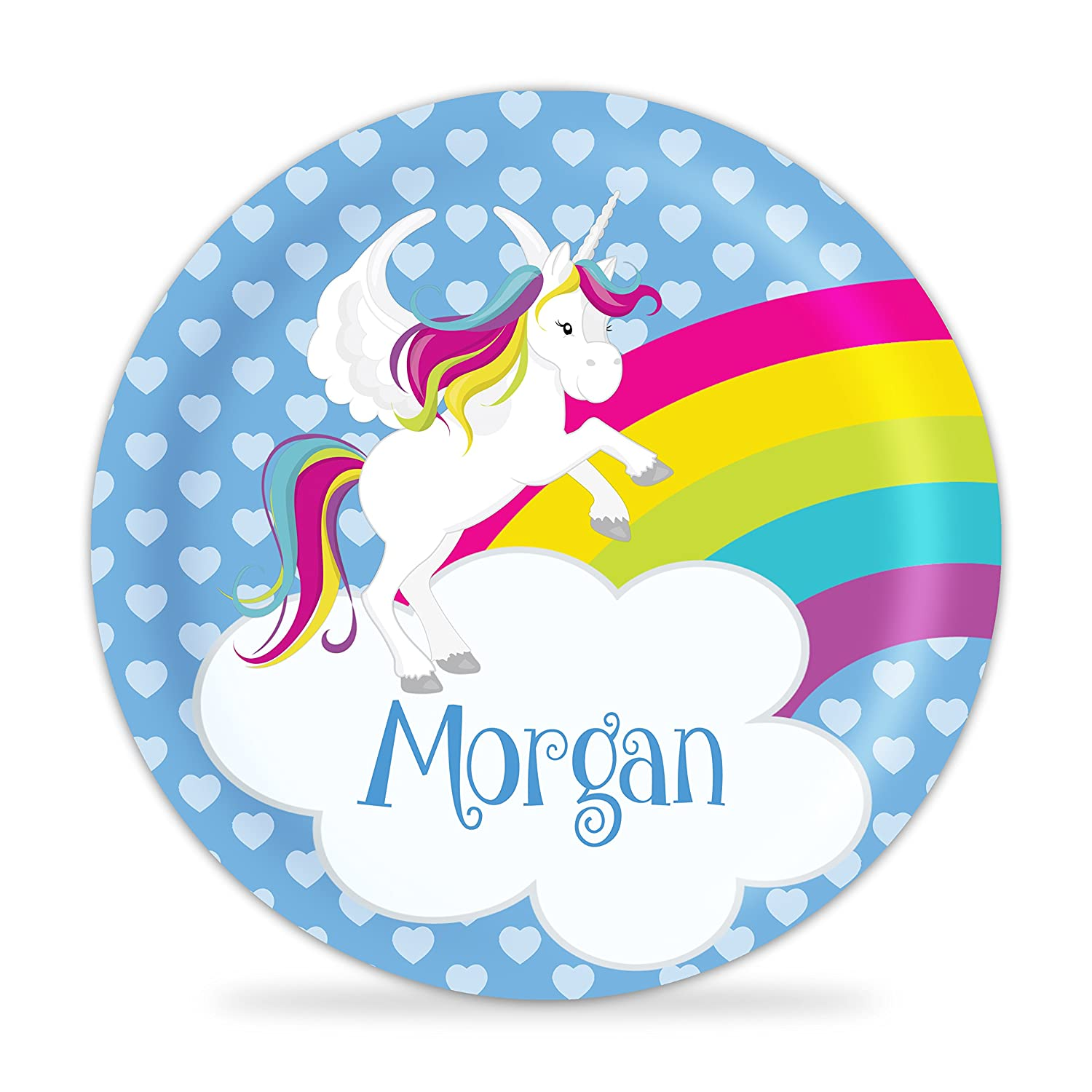 Dealing full price reduction Unicorn Plate - Blue Hearts Max 63% OFF Flying Horse Pink Melamine Personali
