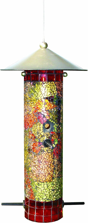 Gardman BA04851 Mosaic Glass Round Tube Seed Feeder, 6  Long x 6  Wide x 12  High