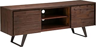 Simpli Home AXCLRY-08 Lowry Solid Acacia Wood 63 inch Wide Modern Industrial TV Media Stand in Distressed Charcoal Brown For TVs up to 70 inches