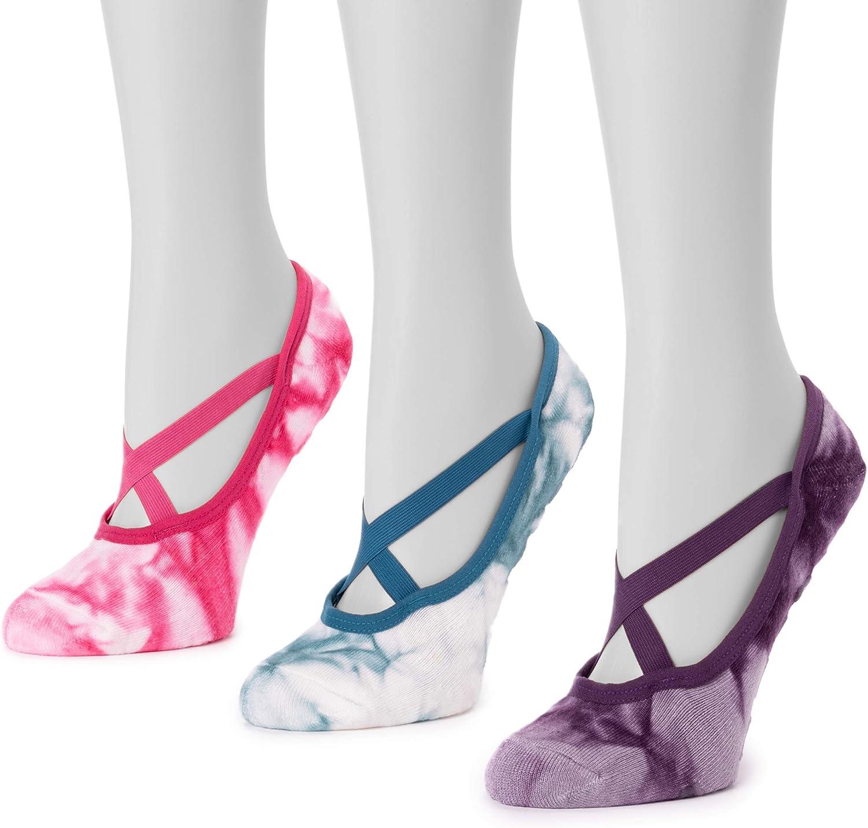 MUK LUKS womens Muk Luks Women's 3 Pair Pack Strappy Ballerina Sock