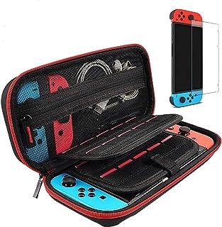 Switch Hard Case y Protector de Pantalla Templado para Nintendo Switch-20 Fundas con Ranura para Tarjeta de Juego con 1 Pr...