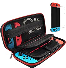 Hestia Goods Switch Case and Tempered Glass Screen Protector for Nintendo Switch - Deluxe Hard Shell Travel Carrying Case,...