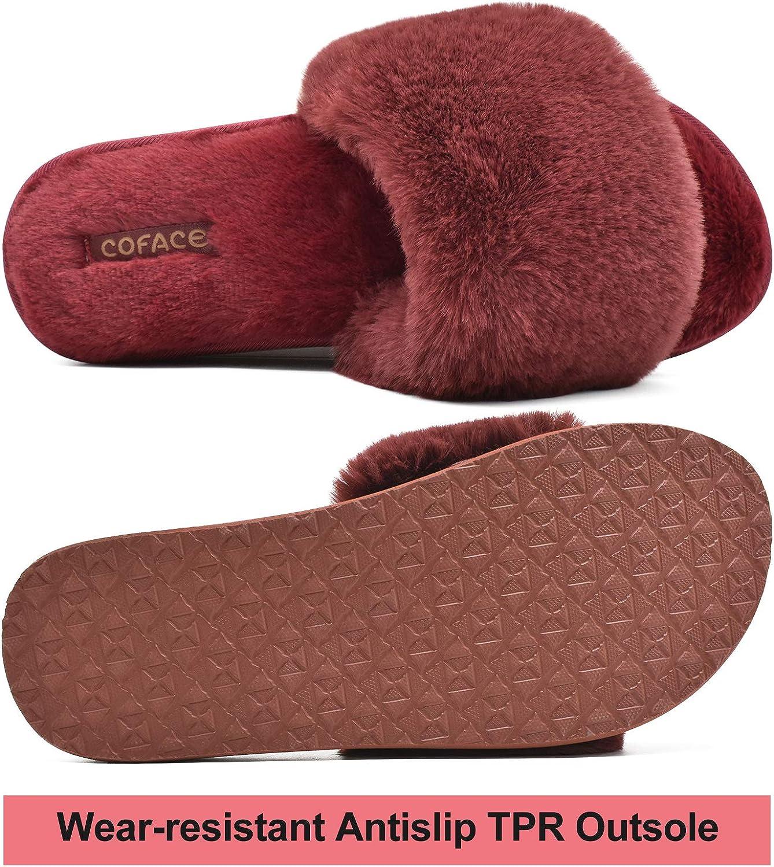 COFACE Pantofole Donna Pelliccia Finta Ciabatte Donne Memory Foam Punta Aperta Pelose Pantofole Invernali Supporto Arco Ragazza Piatte Sandali Morbide Moda Ciabatte Pantofole da Casa Antiscivolo