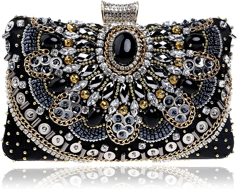 Sakuldes Frauen Perlen Abendtasche Kleid Abend Abend Abend Clutch Handtasche Crossbody Umhängetasche (Farbe   schwarz) B07KLVFG8V  Aktuelle Form f27b5b