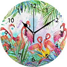 ALAZA Home Decor Tropical Exotic Flamingo Bird Palm Tree Round Acrylic 9 Inch Wall Clock Non Ticking Silent Clock Art for Living Room Kitchen Bedroom