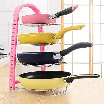 Kurtzy Adjustable Pan and Pot Rack Tawa Holder Dish Storage Organiser Drainer for Kitchen