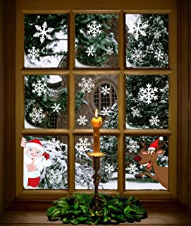 Moon Boat 320PCS Christmas Snowflakes Window Clings Decals Winter Wonderland Decorations Ornaments Party Supplies (9 Sheets)