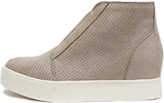 Soda Pointer - Mid Ankle Platform Sneaker w/Hidden Wedge and Side Zipper (8, Mid Taupe)