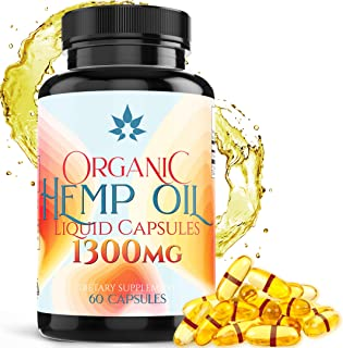 Hemp Oil Capsules - 1300mg Organic Hemp Extract for Pain Relief, Joint Pain, Muscle Aches, Stress & Anxiety - Natural Slee...