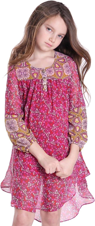Amazon Com Truly Me Tween Girls 7 16 Fuchsia Pink Multi Floral Print Chiffon High Low Shift Dress Clothing