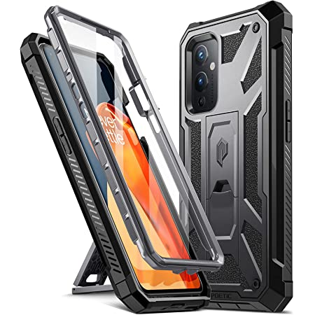 Poetic Spartan Series Designed for OnePlus 9 5G Case, Full-Body Rugged Shockproof Protective Cover with [Premium Leather Texture], Kickstand and Built-in Screen Protector, Metallic Gun Metal