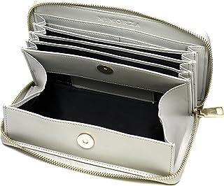 【日本製】 魅革(mikawa) YKK製ファスナー使用 カード20枚 大容量 長財布 本革 牛革 レディース長財布 ラウンドファスナー BOX型小銭入れ (グレー(GRAY))